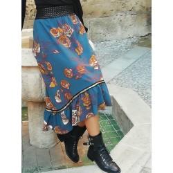 Long skirt ruffles Petrol P. - IBIZENCA