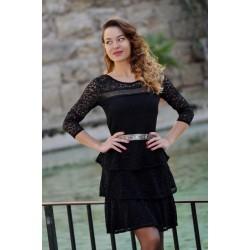 Black dress ruches KAY G.