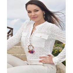 Blusa blanca huecitos - Mod. DAISY
