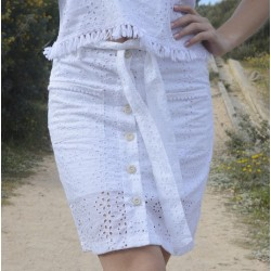 Short skirt white buttons - Mod. ANEMONE