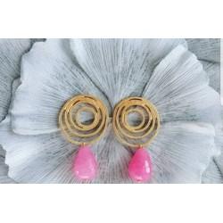 Pendiente doble aro rosa