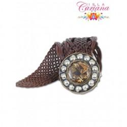 Belt leather with stone TRENZADO
