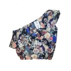 Blouse black flowerprint off-shoulder KAY G.