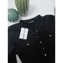Blouse black golden buttons - Mod. DAISY