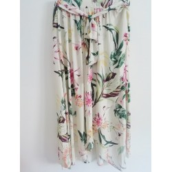 Long wide skirt cream -  Mod. LEAF