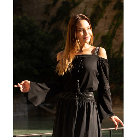 Blouse Black straps off-shoulder - PARIS