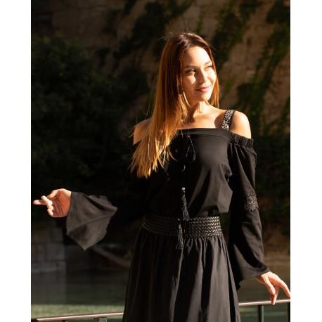 Blusa negra straps off-shoulder - PARIS