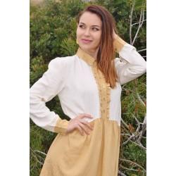 Collar dress Cream/Camel - Mod. LINUM