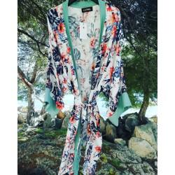 Kimono black flowerprint - Mod. KIM