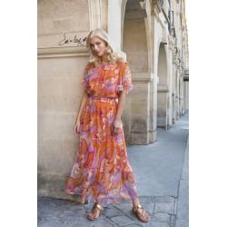 Lange jurk oranje lila TIA