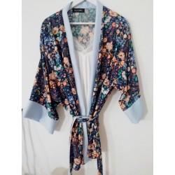 Kimono bloemenprint petrol - Mod. KIM