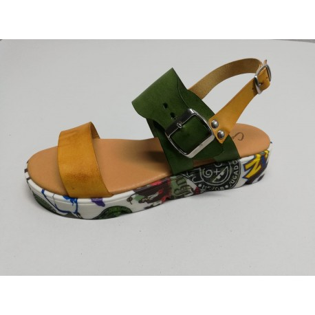 Sandal leather - Yellow green