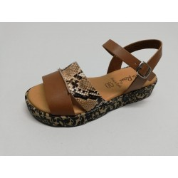 Sandal leather - snake print
