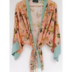 Kimono beige-zalm print - Mod. KIM