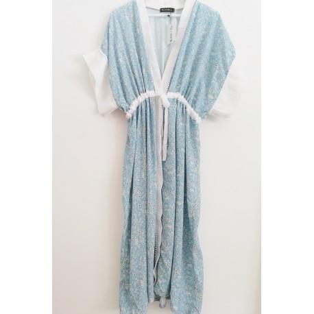 Kimono floral blue print - Mod. KIM3