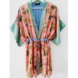 Kimono flowerprint green/pink - Mod. KIM