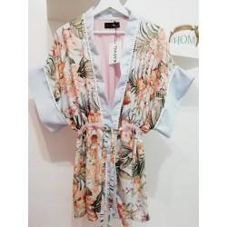 Kimono bloemenprint acqua/roos - Mod. KIM