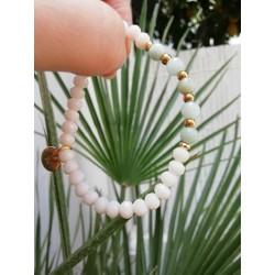 Bracelet off-white/ turkoise green stones KAY G.