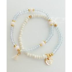 Bracelet set stones light blue KAY G
