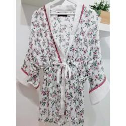 Kimono flowerprint white/fuchsia - Mod. KIM
