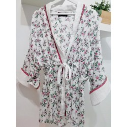 Kimono bloemenprint wit/fuchsia - Mod. KIM