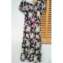 Long dress dark blue flower print KAY G.