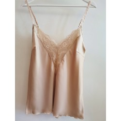 Top with straps and lace sandbeige