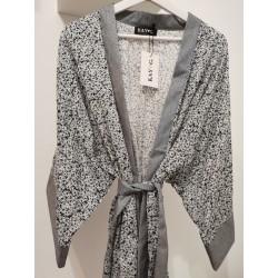 Kimono white blue flowerprint - Mod. KIM