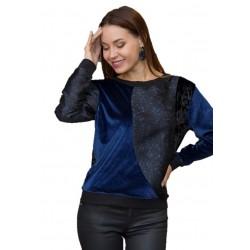 Sweater Blue Print Velvet - MILANO