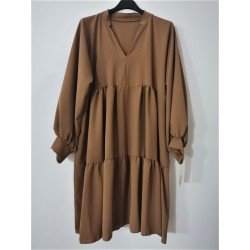 Dress wide ruches camel