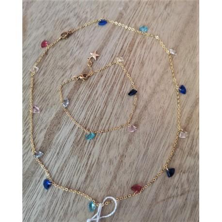 Set ´Collar & bracelet colored stones´