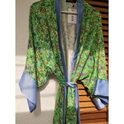 Kimono green lavender print - Mod. KIM