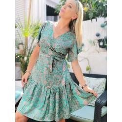 Shor silk dress turkoise green print