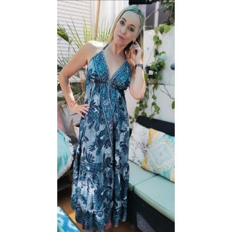 Long silk dress open back