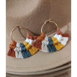 Earrings BOHO with colored fringes