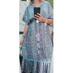 Long dress with buttons silk blue